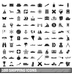 100 shipping icons set simple style vector
