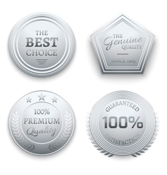 Polished silver metal premium sticker tag vector