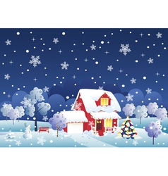 Christmas house vector image