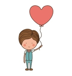 Man holding heart shaped balloon vector