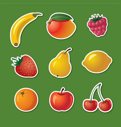 Stickers of different fruits vector
