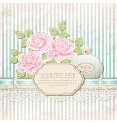 Vintage background with roses and perfume bottle vector