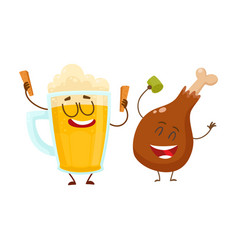 funny beer mug and fried chicken leg characters vector image