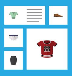 Flat icon garment set of stylish apparel t-shirt vector