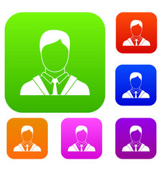 man in business suit set collection vector image