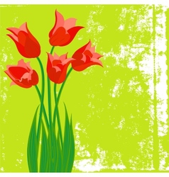 card with red tulips on textured background vector image