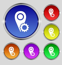 Map pointer setting icon sign round symbol on vector