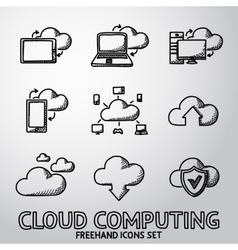 Set of handdrawn Cloud Computing icons vector image