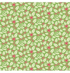 Seamless christmas winter pattern with holly vector