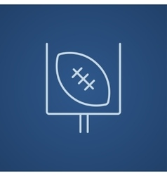 Gate and ball for rugby line icon vector
