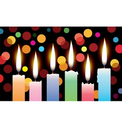 Candles with lights vector