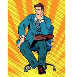 Thoughtful businessman sitting in chair vector
