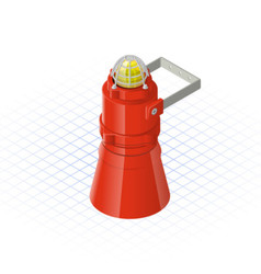 Isometric beacon with loudspeaker alarm horn vector