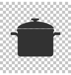 Cooking pan sign dark gray icon on transparent vector