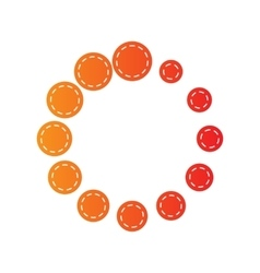Circular loading sign orange applique isolated vector