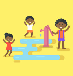 african children play with water vector image vector image