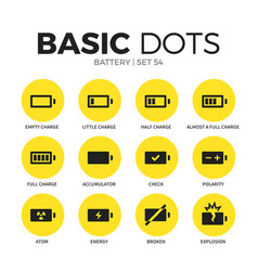 Battery flat icons set vector
