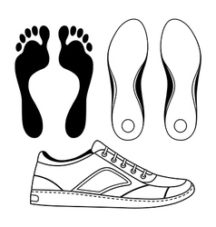 Black outlined sneakers shoe soles vector image
