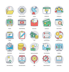 collection of flat digital and internet marketing vector image vector image