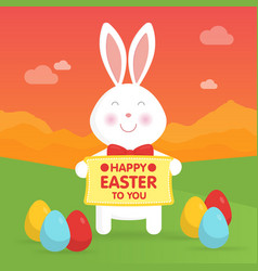 Cute easter bunny in nature vector