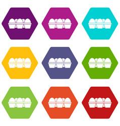 Eggs in carton package icon set color hexahedron vector