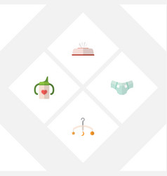 Flat baby set of nappy mobile tissue and other vector