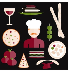 flat design italian cuisine elements and chef vector image vector image