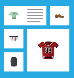 Flat icon garment set of stylish apparel t-shirt vector