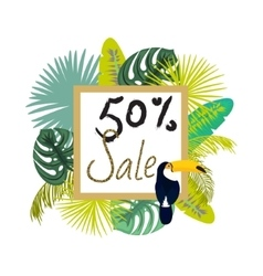 Frame banner for summer sale advertisement Palm vector image
