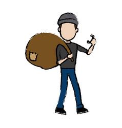 Hacker character holding bag criminal concept vector