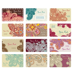 hand draw ornate floral business card set vector image vector image