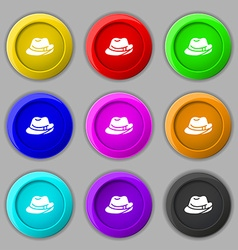 Hat icon sign symbol on nine round colourful vector