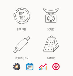 Kitchen scales rolling pin and grater icons vector