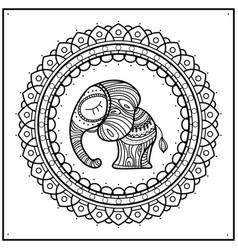 Little elephant in frame mandala hand-drawn cute vector