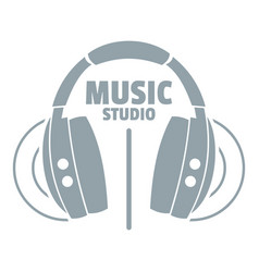 musical studio logo simple gray style vector image vector image