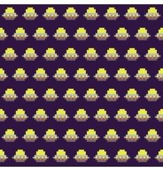 Old school pixel art style ufo arcade game vector