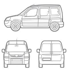 outline minivan vector image vector image
