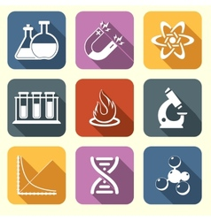 Physics science icons flat vector image vector image