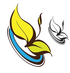 Retro floral logo vector