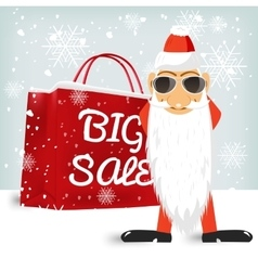 Santa claus wiyh a red big sale shopping bag vector