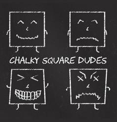 set of chalk emoticons blackboard backgound vector image vector image