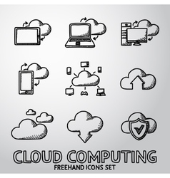 Set of handdrawn Cloud Computing icons vector image