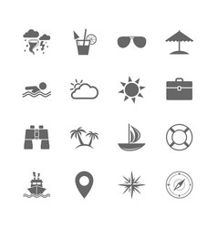 set of travel and cruise icons vector image