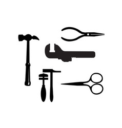 silhouette building tool set drawing plan layout vector image