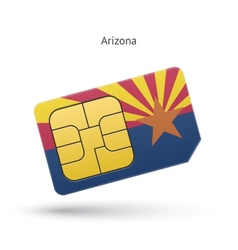 State of Arizona phone sim card with flag vector image vector image