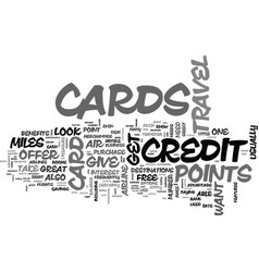 What benefits does a travel credit card offer vector