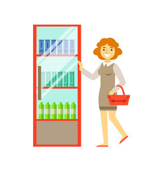 woman shopping at supermarket and buying products vector image vector image