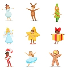 Children dressed as winter holidays symbols for vector