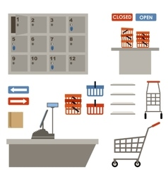 Supermarket equipment vector
