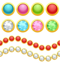 Set of round jewelery buttons and seamless chain vector